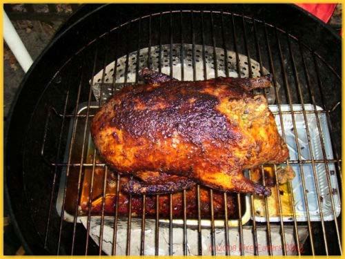 Gegrillte Ente mit Pilz-Leber-Füllung und Käsekuchen vom Grill