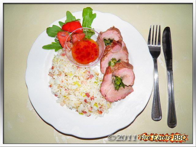 """Bild - Schweinefilet mit Lauchzwiebeln """"Asia Style"""" mit rauchigem Bratreis und selbstgemachter Sweet-Chili-Sauce"""