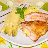 Cordon bleu mit Spargel und Sauce Hollandaise