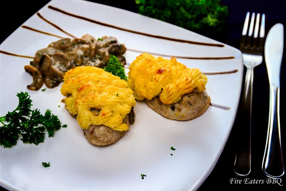 Schweinefilet mit Pilz-Kartoffelhaube