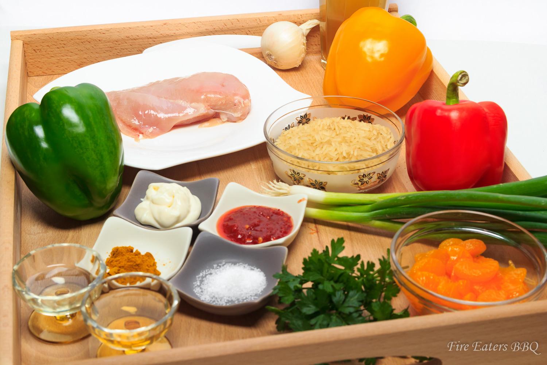 Bild - Die Zutaten für einen Curry-Reissalat