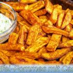 """Süßkartoffel Pommes Frittes """"Indian Spice"""" mit Knoblauch-Cashew-Sauce"""