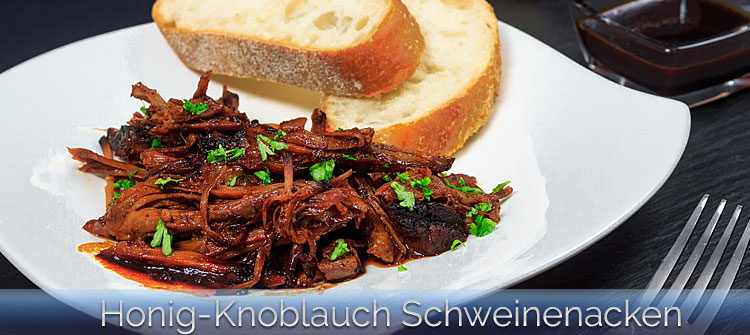Artikelbild Honig-Knoblauch Schweinenacken aus dem Slow Cooker