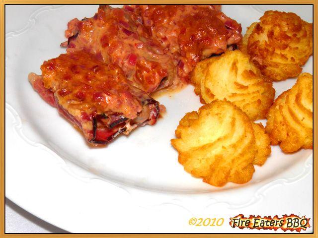 Überbackene Schweinefiletmedaillons mit Zwiebel-Senf-Kruste