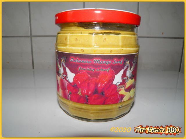 Habanero-Mango-Senf aus eigener Produktion