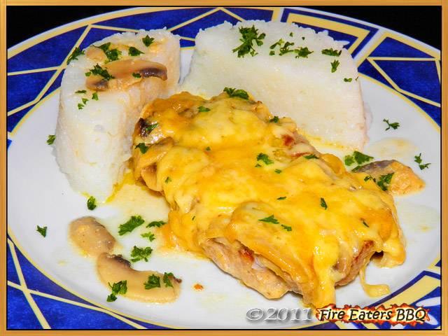 Überbackene Champignon-Koteletts mit Reis