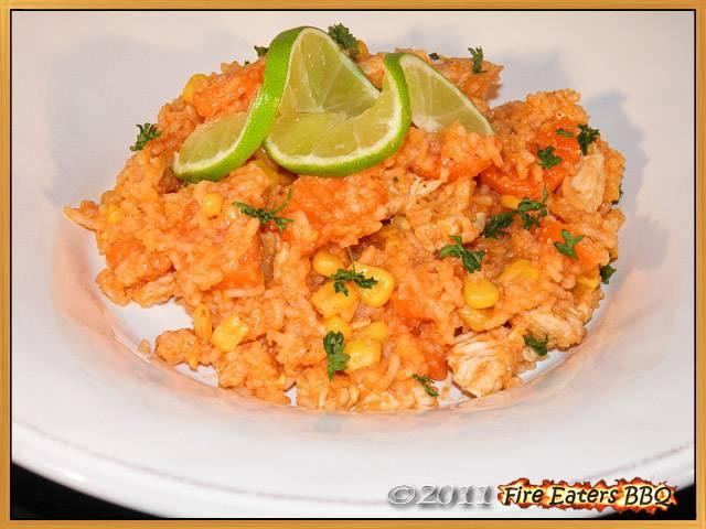 Mexikanische Reispfanne mit Putenfleisch