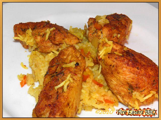 Puertoricanische Hähnchen-Reis-Pfanne